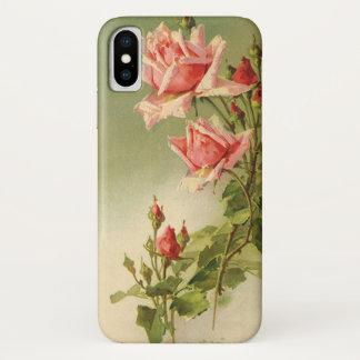 Vintage Pink Garden Roses for Valentine's Day iPhone X Case