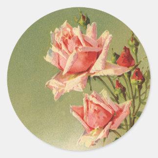 Vintage Pink Garden Roses for Valentine's Day Sticker