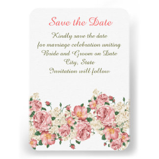 Vintage Pink Garden Roses Save the date Personalized Announcements