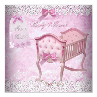 Vintage Pink Girl Baby Shower Lace Crib 5.25x5.25 Square Paper Invitation Card