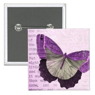 Vintage pink girly butterfly illustration 15 cm square badge