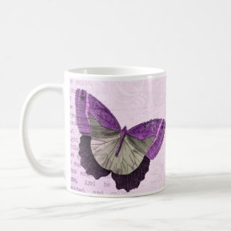 Vintage pink girly butterfly inspirational quote coffee mug