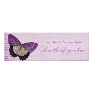 Vintage pink girly butterfly inspirational quote poster