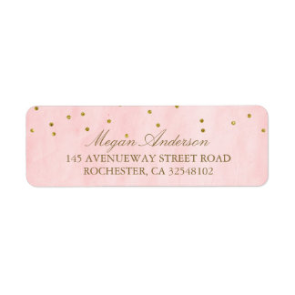 Vintage Pink Gold Confetti Wedding Return Address Label