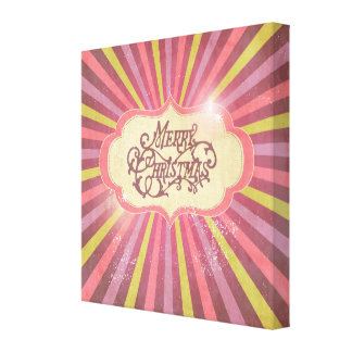 Vintage Pink, Green & Purple Christmas Design Gallery Wrapped Canvas