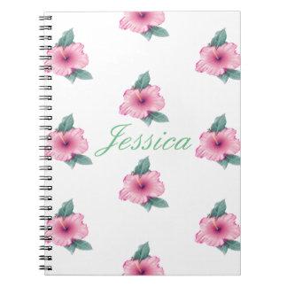 Vintage Pink Hibiscus Custom Monogram Notebook