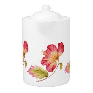 Vintage Pink Hibiscus Flower Teapot