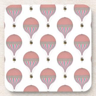 Vintage Pink, Light Blue Hot Air Balloons Beverage Coaster