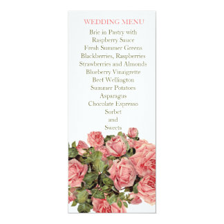 Vintage Pink Magic Roses Wedding Menu Card