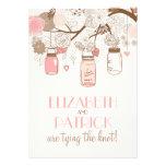 Vintage Pink Mason Jars Floral Wedding Invitation