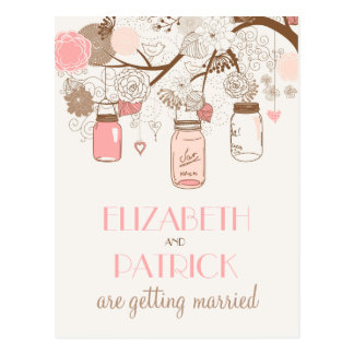 Vintage Pink Mason Jars Save the Date Postcard