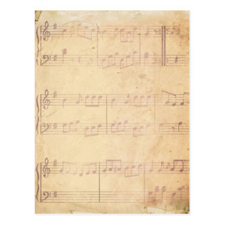 Vintage Pink Music Sheet Postcard