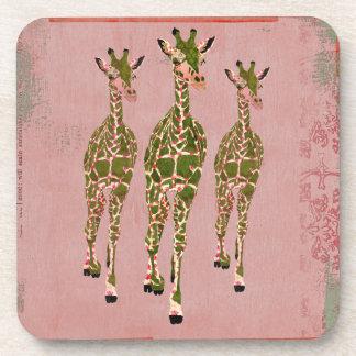 Vintage Pink Olive Cork Coaster