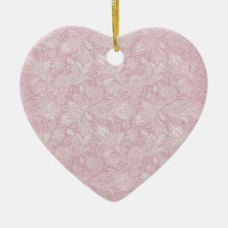 Vintage Pink Paisley Ceramic Heart Decoration
