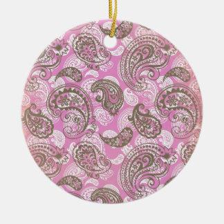 Vintage Pink Paisley Ornaments