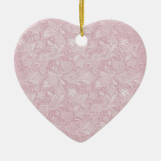 Vintage Pink Paisley Double-Sided Heart Ceramic Christmas Ornament
