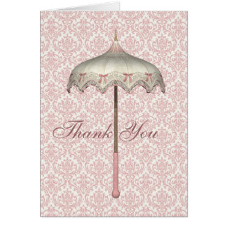 Vintage Pink Parasol Umbrella Thank You Cards