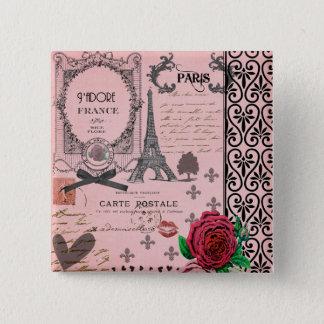 Vintage Pink Paris Collage 15 Cm Square Badge