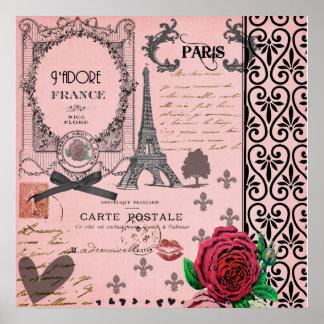 Vintage Pink Paris Collage art poster