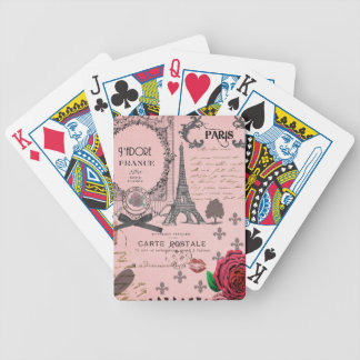 Vintage Pink Paris Collage Bicycle Playing Cards