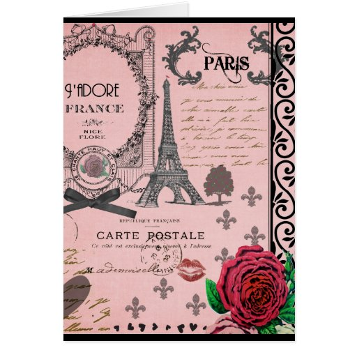 Vintage Pink Paris Collage Card