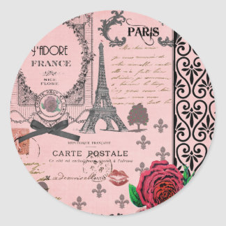 Vintage Pink Paris Collage Classic Round Sticker