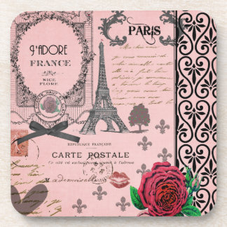 Vintage Pink Paris Collage coasters