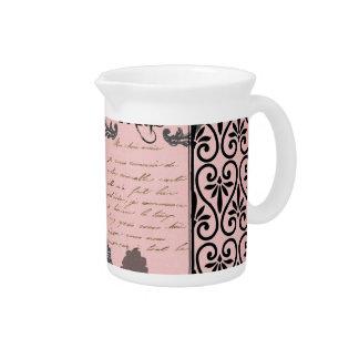 Vintage Pink Paris Collage jug Pitcher