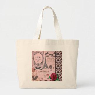 Vintage Pink Paris Collage Jumbo Tote Bag