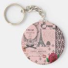 Vintage Pink Paris Collage Key Ring