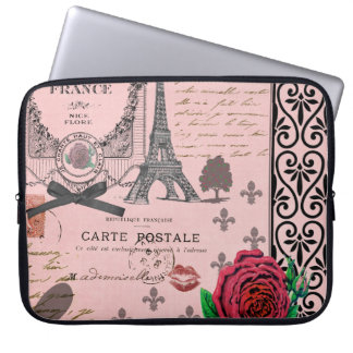 Vintage Pink Paris Collage Laptop Sleeve