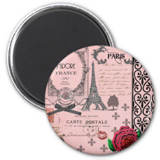 Vintage Pink Paris Collage Magnet