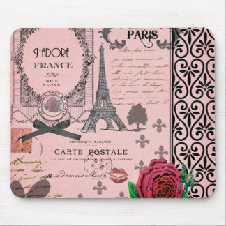 Vintage Pink Paris Collage Mouse Mat