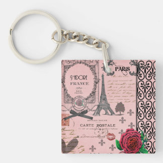 Vintage Pink Paris Collage personalized keychain Acrylic Key Chains