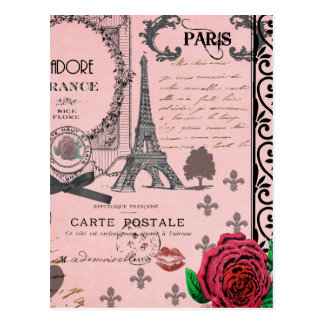 Vintage Pink Paris Collage Postcards