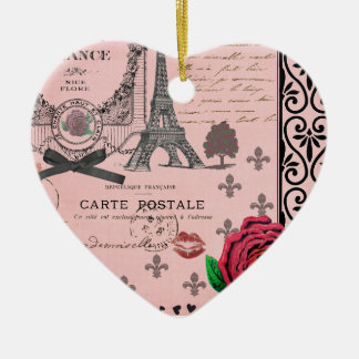 Vintage Pink Paris Collage romantic heart ornament