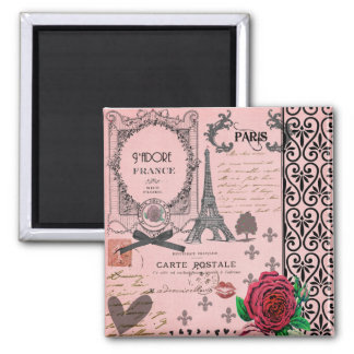 Vintage Pink Paris Collage Square Magnet