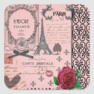 Vintage Pink Paris Collage Square Sticker