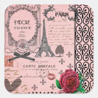 Vintage Pink Paris Collage Square Sticker