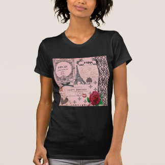 Vintage Pink Paris Collage T-shirts