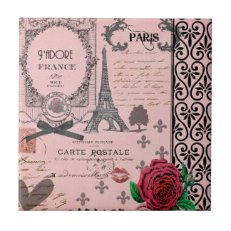 Vintage Pink Paris Collage Tile