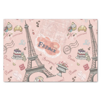 Vintage,pink,paris,france,pattern,floral,chic,fun, Tissue Paper