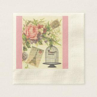 Vintage Pink Paris French Theme Paper Napkins Paper Napkin