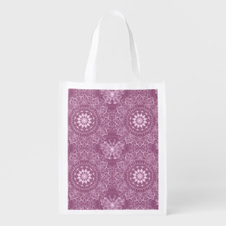 Vintage Pink Pattern Reusable Grocery Bag