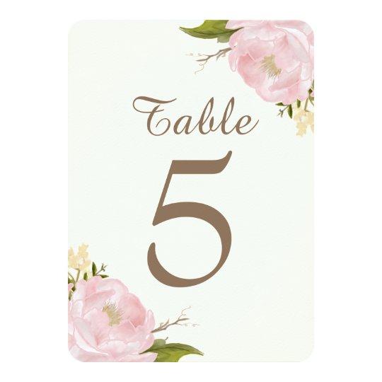 Vintage Pink Peonies Wedding Table Numbers Card