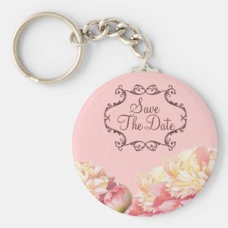 vintage pink peony floral wedding basic round button key ring