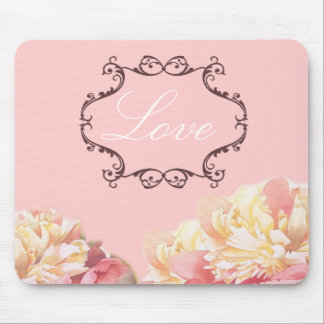 vintage pink peony floral wedding mouse pad
