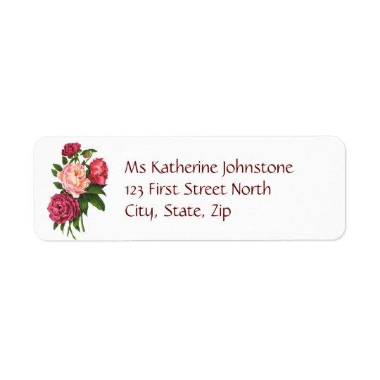 Vintage Pink Peony Garden Flowers Return Address Label