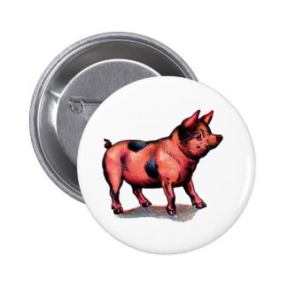 Vintage Pink Pig 6 Cm Round Badge