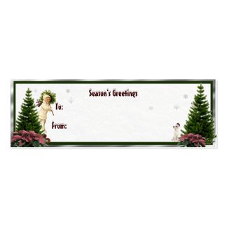 Vintage Pink Poinsettia Gift Tag New Year Wishes Pack Of Skinny Business Cards